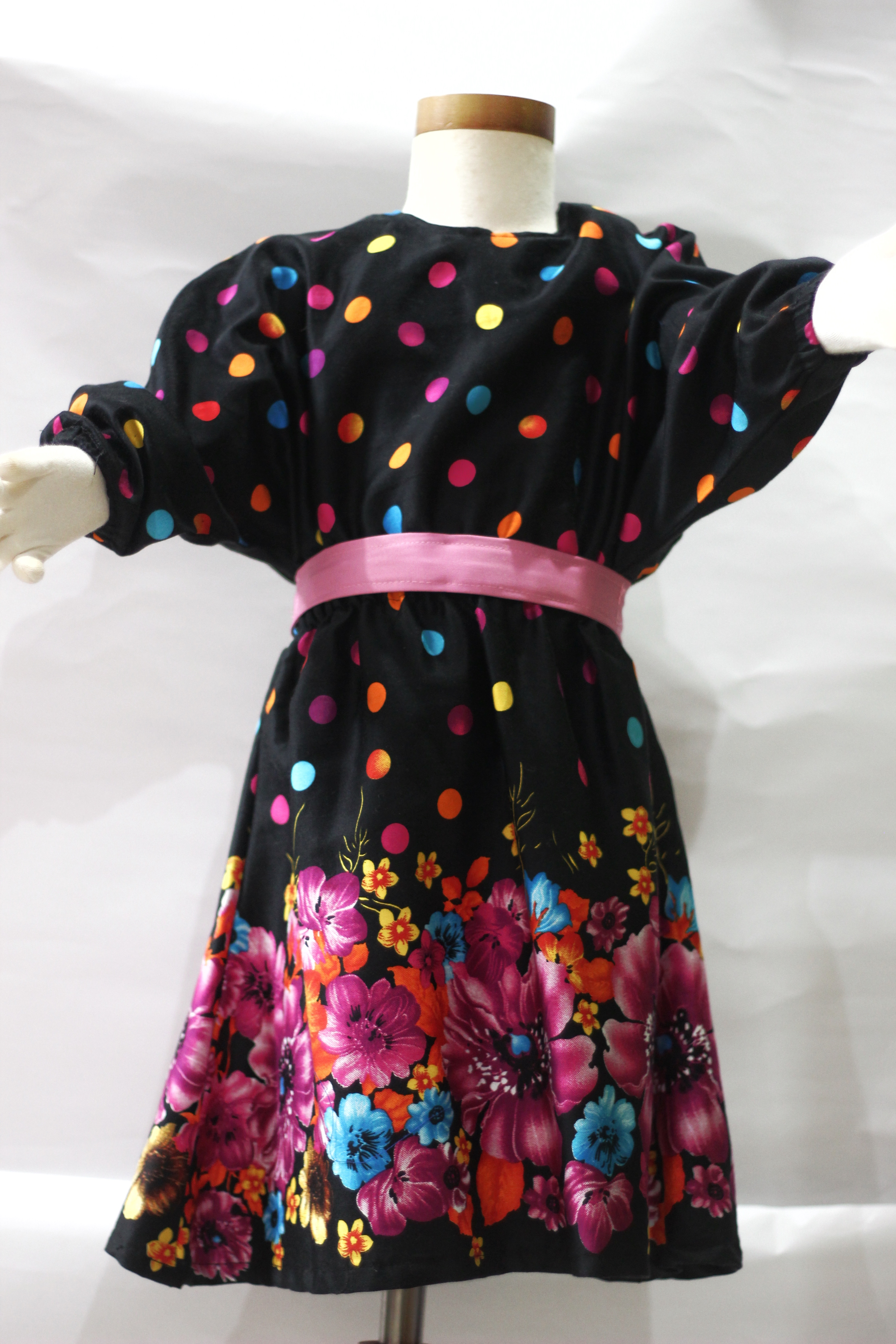 Black Colourful Polka Dots Dress