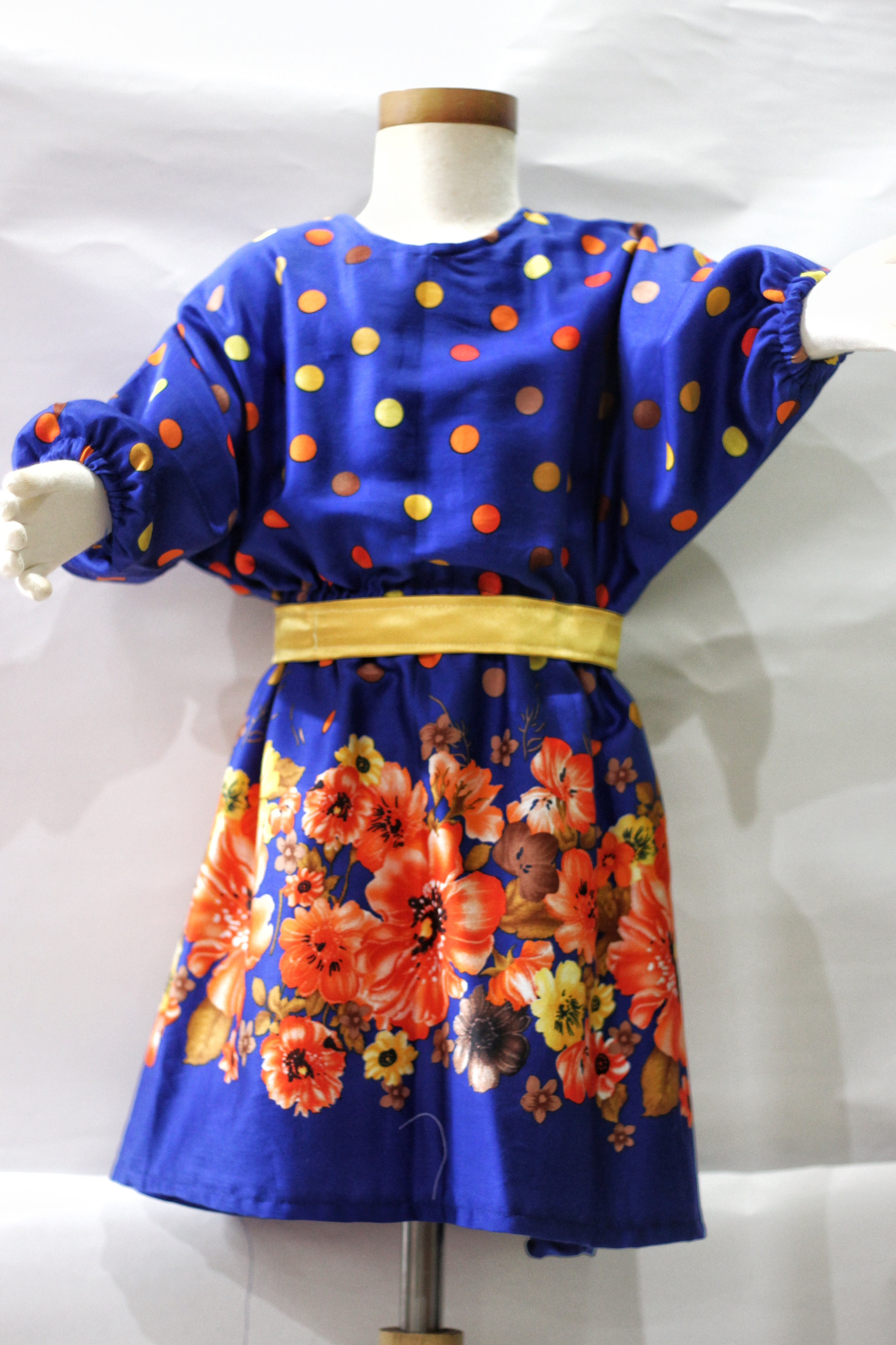 Electric Blue Colourful Polka Dot Dress